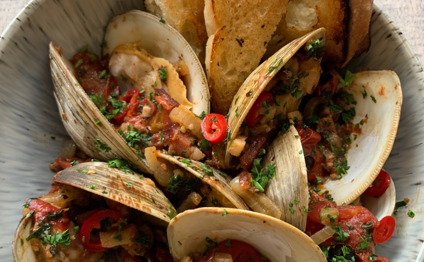 Manilla Clams with Spicy Charred Tomatoes and Pancetta