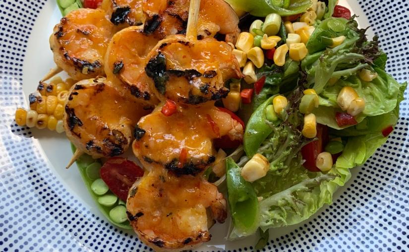 Grilled Mango Habanero Shrimp with Sweet CornSuccotash