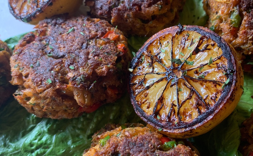 Magick Bayou Crab Cakes with Charred Lemon featuring Mystic Seasonings!